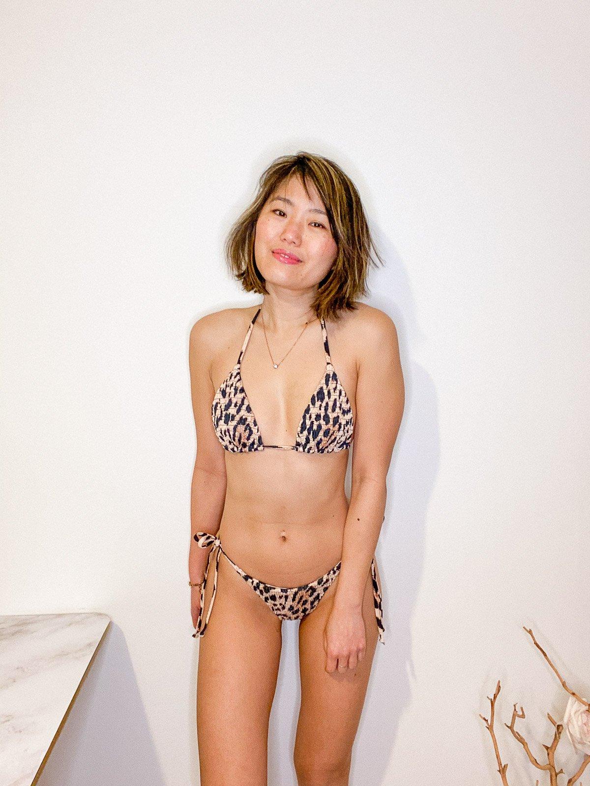 shein leopard triangle bikini