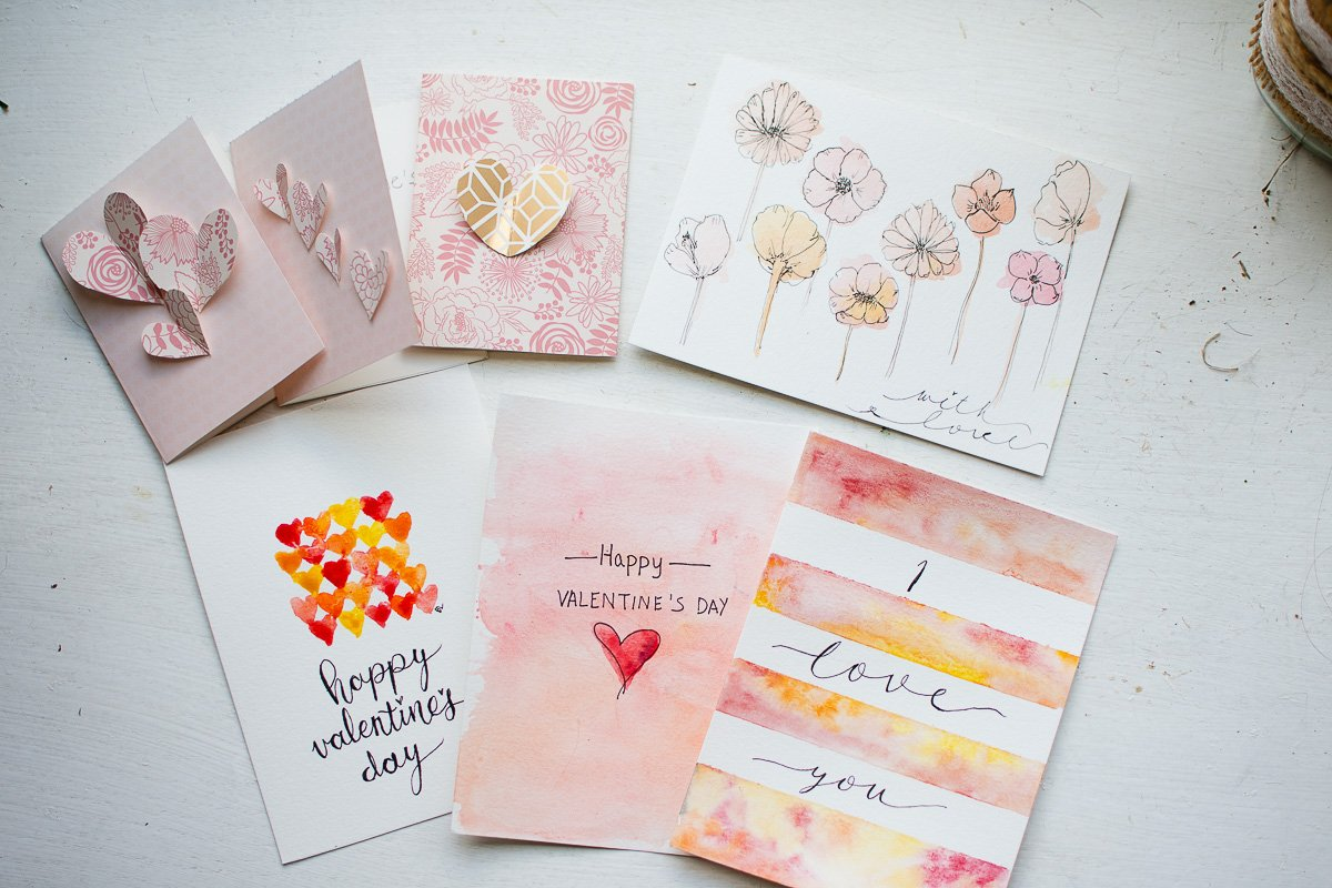 valentine's day watercolor cards