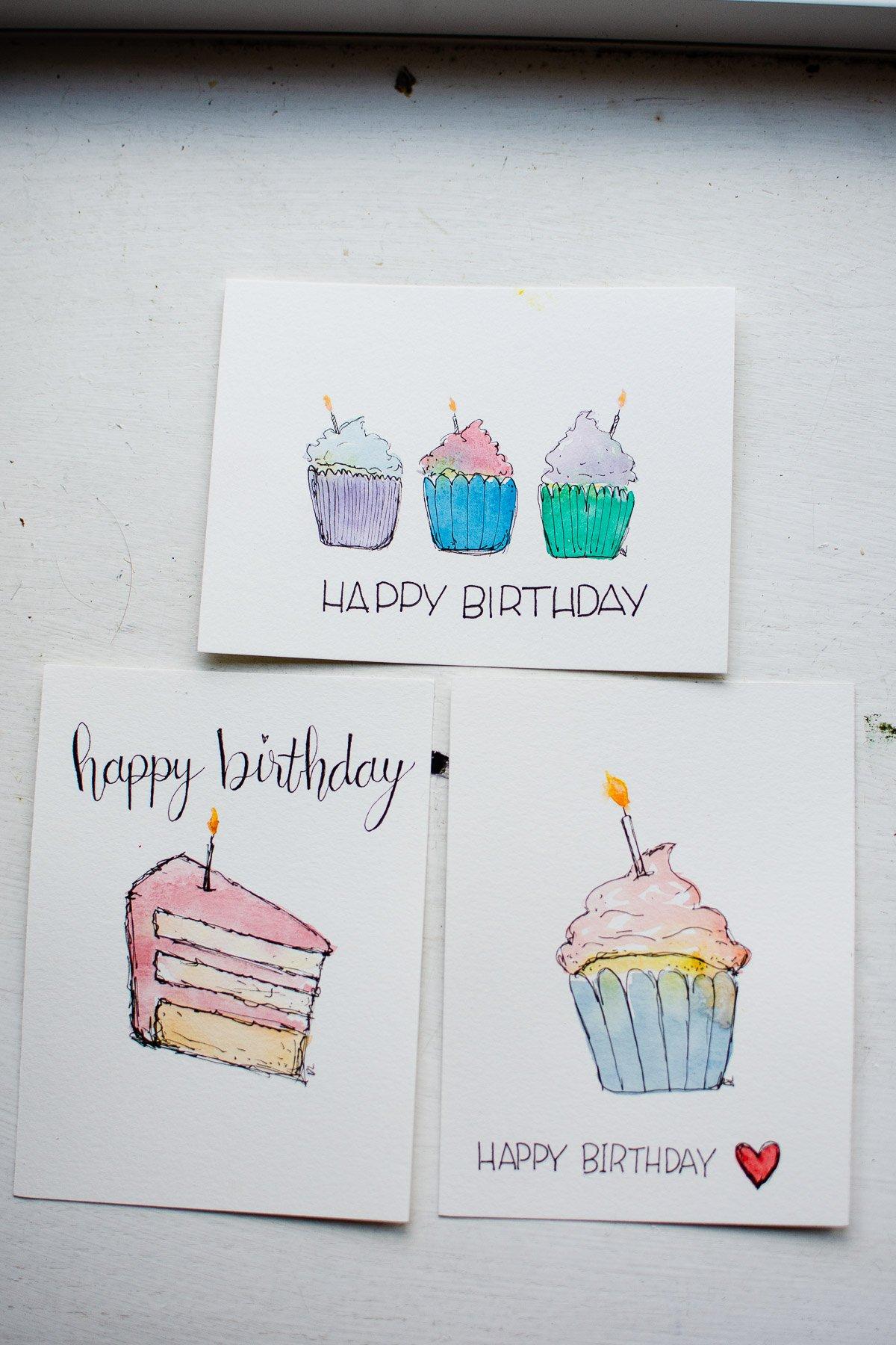 watercolor birthday card ideasi